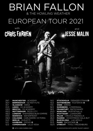 Brian Fallon & The Howling Weather European Tour spring 2021 || RESCHEDULED Euctgw13