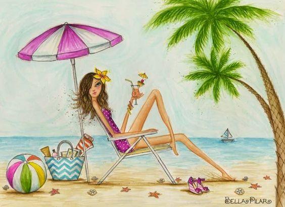 """Illustrations ... pour l'été ... Plage et """"farniente"""" ... 6815d910"""
