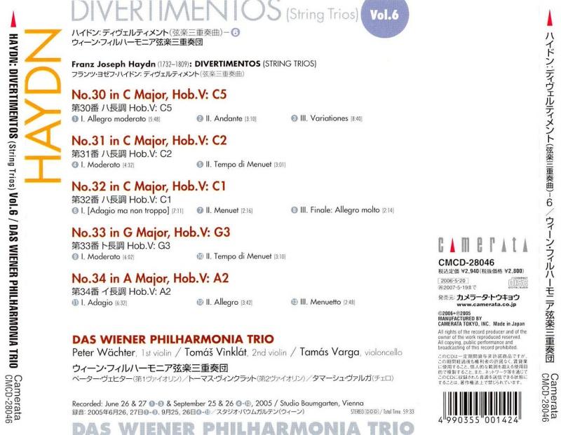 Les trios pour cordes HobV. Haydn_15