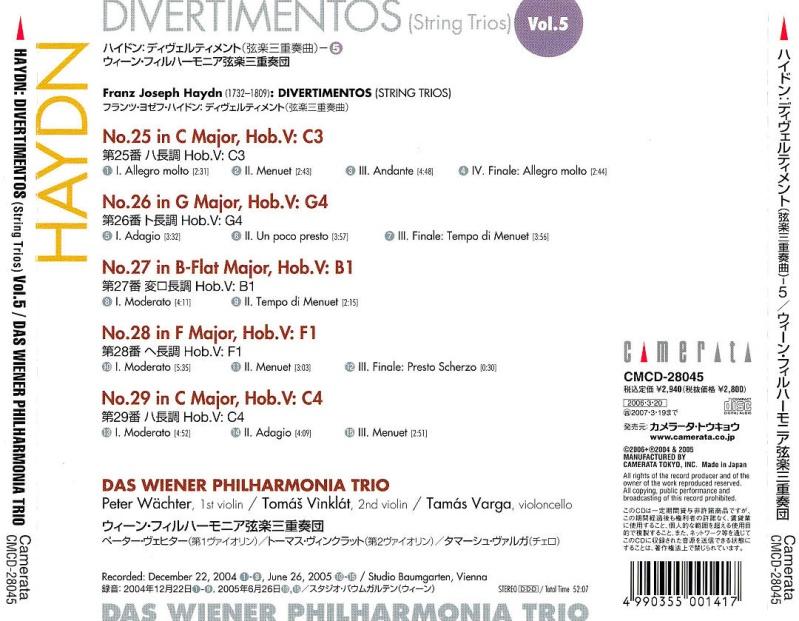 Les trios pour cordes HobV. Haydn_16