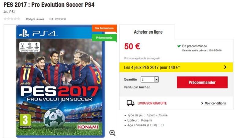 Commande groupée PES 2017 sur PS4 à 35 € sur Auchan.fr !!!! Auchan10