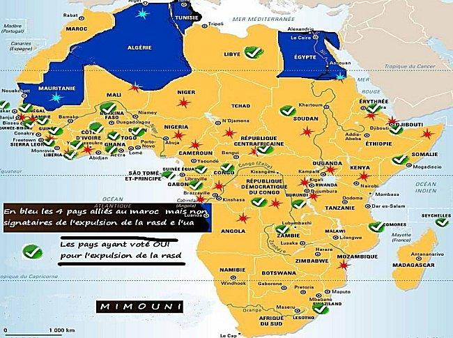 carte - carte de l'Afrique avec Pays signataire de l'expulsion de la rasd Afriqu11