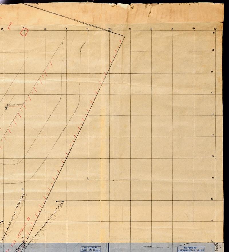 3 - Les forces navales et les bombardements navals prévus sur Omaha Beach le D DAY Carte-11