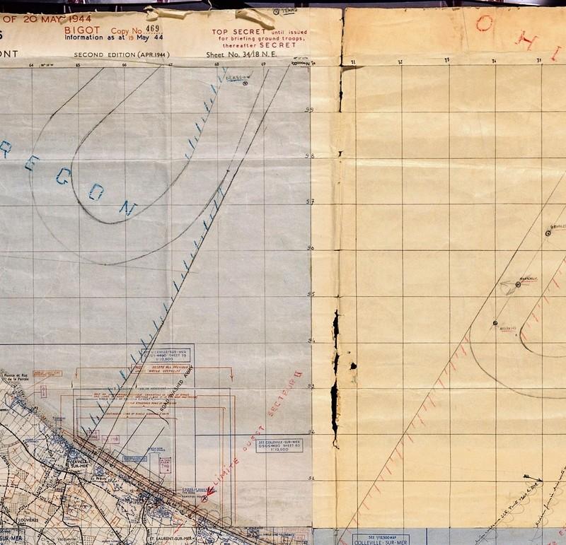 3 - Les forces navales et les bombardements navals prévus sur Omaha Beach le D DAY Carte-12