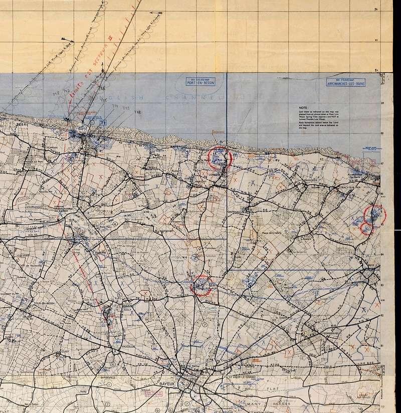 3 - Les forces navales et les bombardements navals prévus sur Omaha Beach le D DAY Carte-15