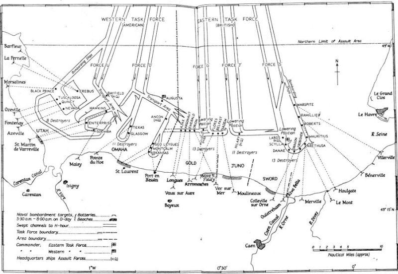 3 - Les forces navales et les bombardements navals prévus sur Omaha Beach le D DAY Chenau10