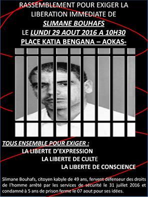 Rassemblement pour exiger la libération immédiate de Slimane Bouhafs à Aokas  1010