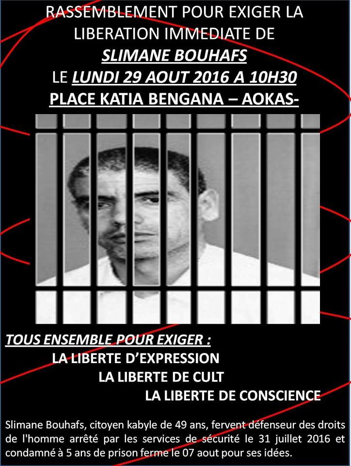 Rassemblement pour exiger la libération immédiate de Slimane Bouhafs à Aokas  1115