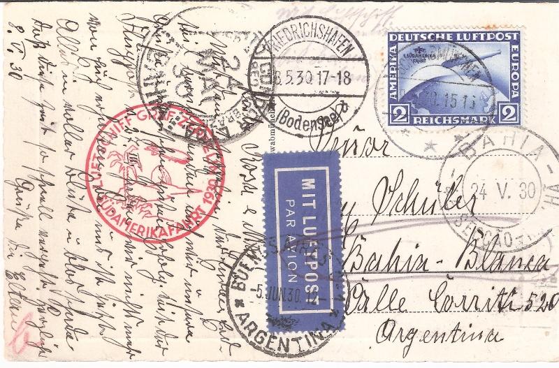 Südamerikafahrt 1930, Post nach (Salvador de) Bahia Schwab11