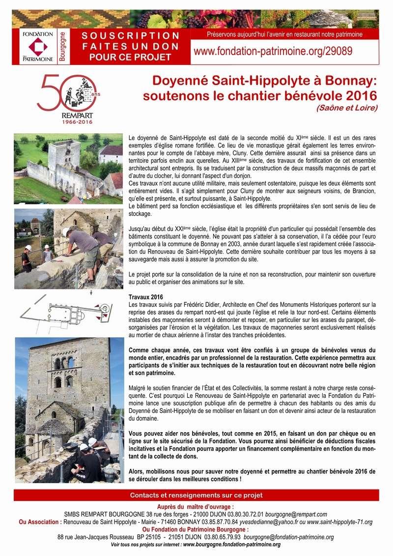 Restauration du doyenné Saint-Hippolyte - appel au mécénat populaire pour le chantier 2016 1_copi16