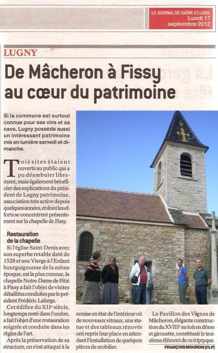 Sixième participation de Lugny aux Journées européennes du Patrimoine 2012 Lugny11