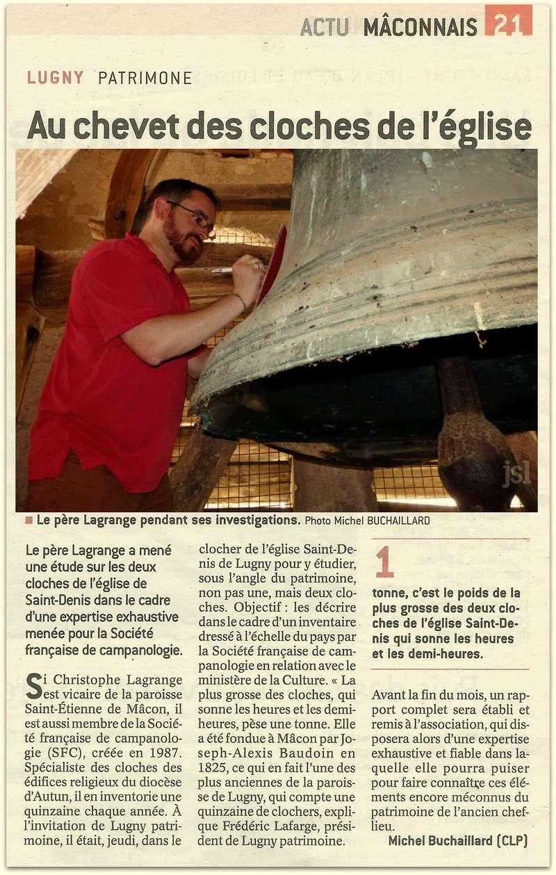 LUGNY - PATRIMONE Au chevet des cloches de l'église  Le père Lagrange a mené une étude sur les deux cloches de l'église de Saint-Denis dans le cadre d'une expertise exhaustive menée pour la Société française de campanologie. Lugny_39
