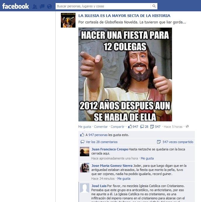 """Grupo Facebook """"La iglesia la mayor secta de la historia"""", ataca a Jesucristo Jesucr10"""