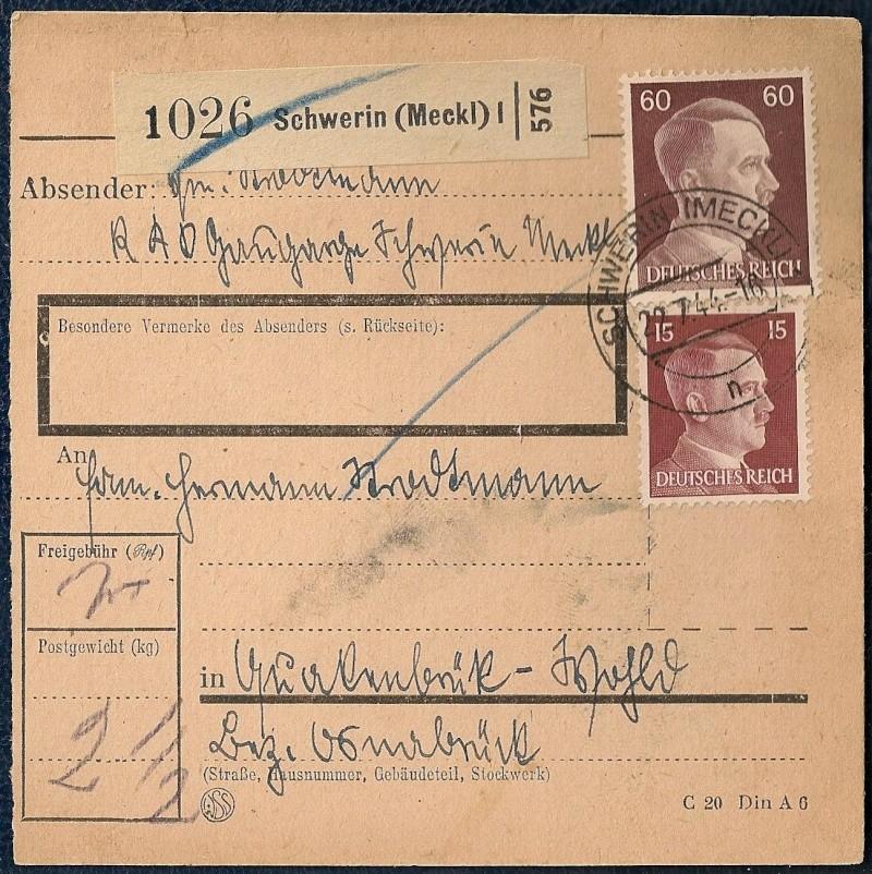 Postgebühren Pakete Deutsche Reichspost 1944/1945 110