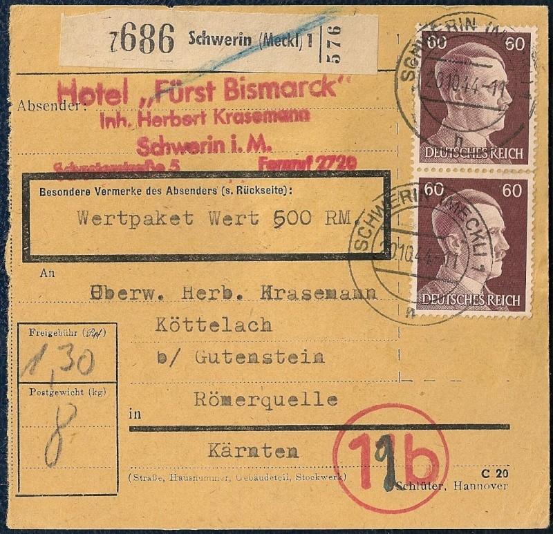 Postgebühren Pakete Deutsche Reichspost 1944/1945 210