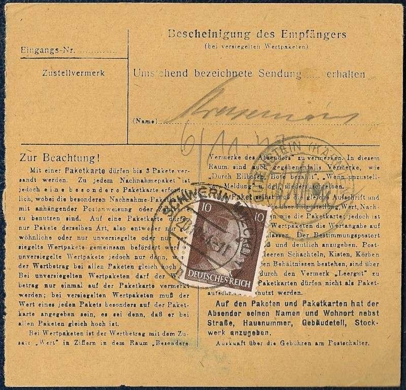 Postgebühren Pakete Deutsche Reichspost 1944/1945 310