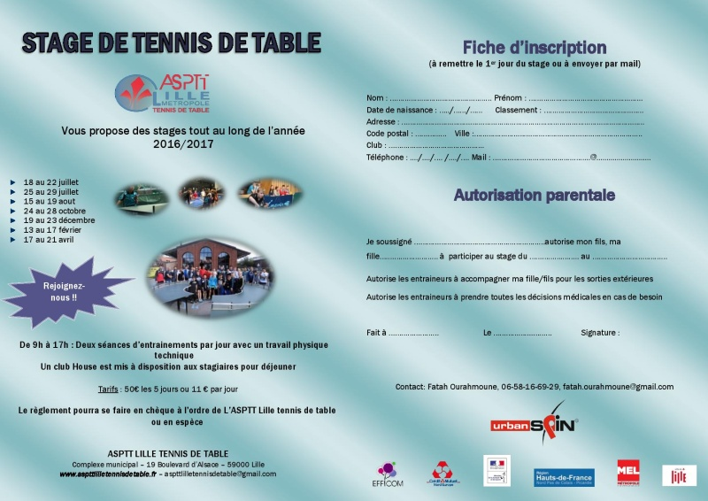 Stage à l'ASPTT Lille pendant les vacances scolaires  Affich10