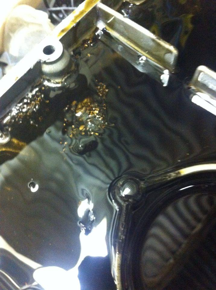 Copper/bronze flakes in sump - opinions please Sump_n10
