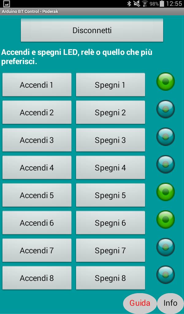 Guida per utilizzare Arduino BT Control v1.2 S110