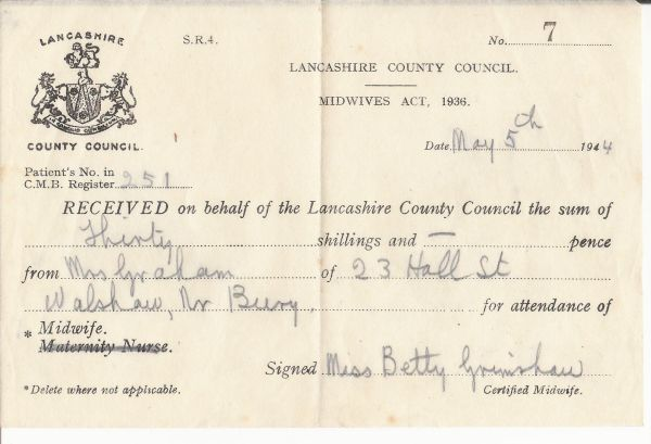 Old documents - One for Maisie Receip10