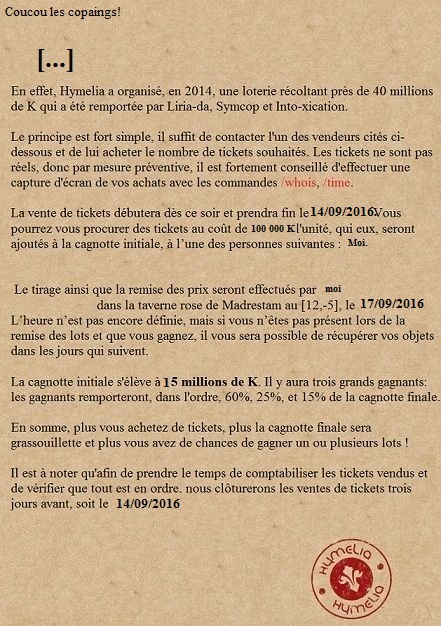 [Event] Loterie de Hymelia Loto12