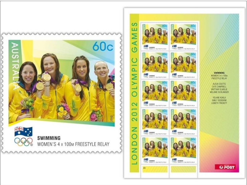 Timbres (Australie) - Champions olympiques (natation) Austra12