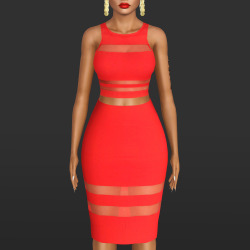 T by Alexander Wang red mesh stripe ponte top with red mesh stripe ponte pencil skirt by AlecseyCOOL Tumblr15