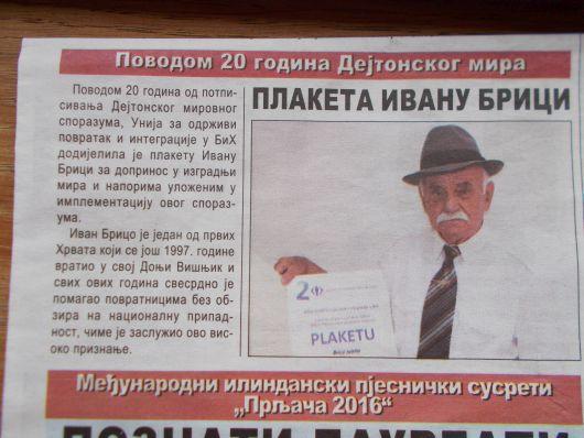 Ivanu Brici plaketa povodom 20 godina Dejtona Brico11