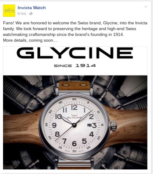Glycine racheté par Invicta Invgly10