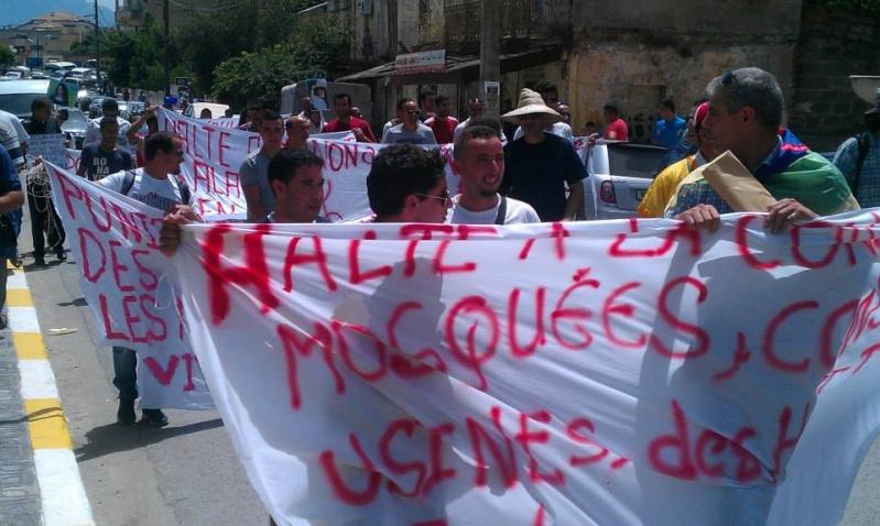 Slimane Bouhas à Aokas lors de la marche contre l'inquisition pour la liberté de conscience 05 Juillet 2014  Sliman15