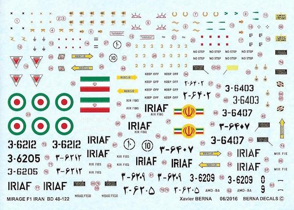 Décals Mirage F1 Iran Air Force Ber48113