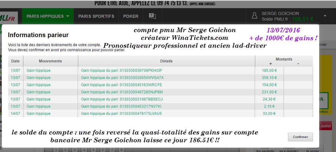 Compte Pmu De Mr Serge Goichon. 14-07-10