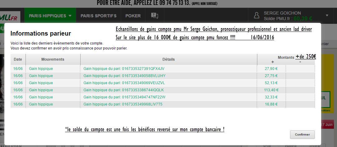 Compte Pmu De Mr Serge Goichon. 17-06-13