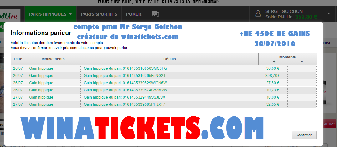 Compte Pmu De Mr Serge Goichon. 27-07-17
