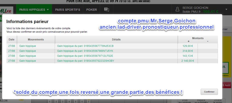 Compte Pmu De Mr Serge Goichon. Gains210
