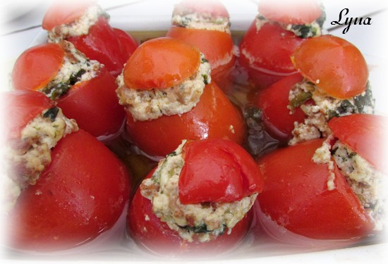 Tomates farcies, confites au four Tomate12