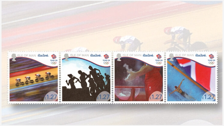 Timbres (Île de Man) - Jeux Olympiques Rio 2016 (Athlétisme, Cyclisme & Natation) Isle-o10