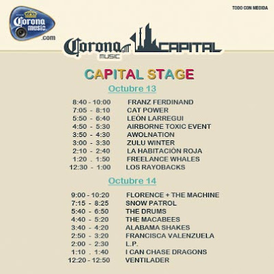"10/13/12 – Mexico City, Mexico, Autodromo Hermanos Rodriguez, ""Corona Capital Music Festival"" Schedu10"