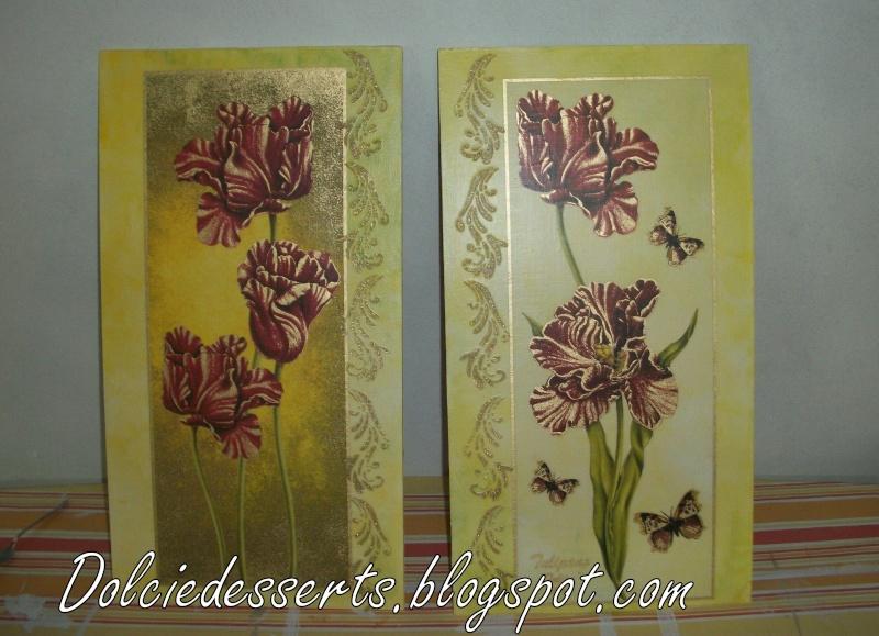 set di quadri floreali con stencil in rilievo 100_4410