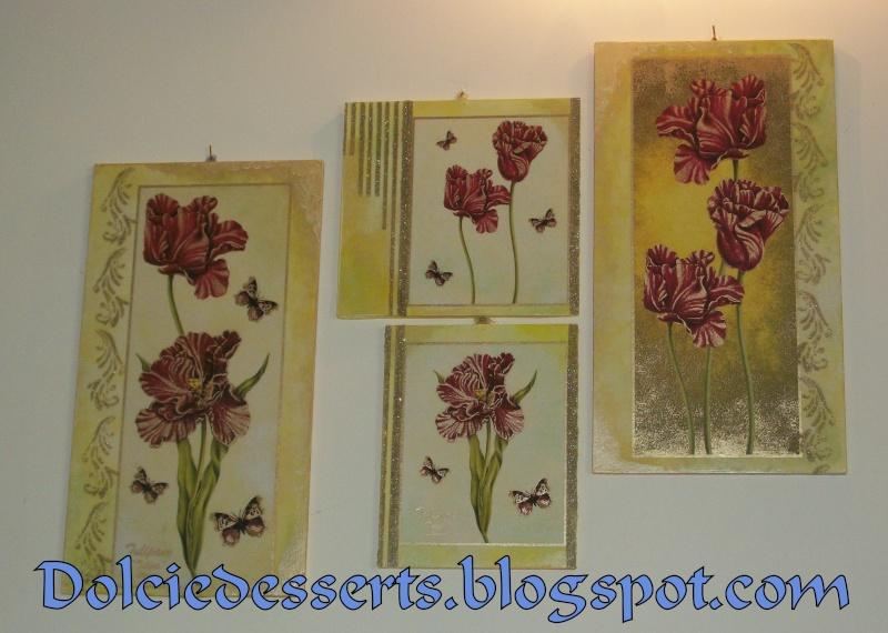 set di quadri floreali con stencil in rilievo 100_5112