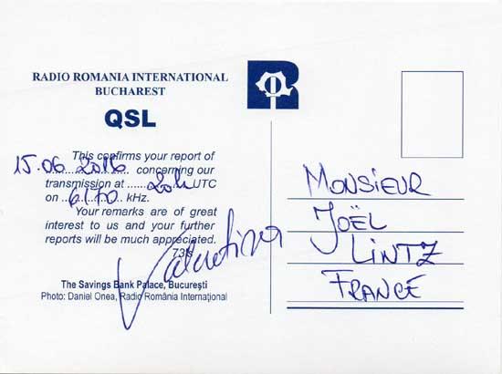 Roumanie / RRI Qsl_rr11