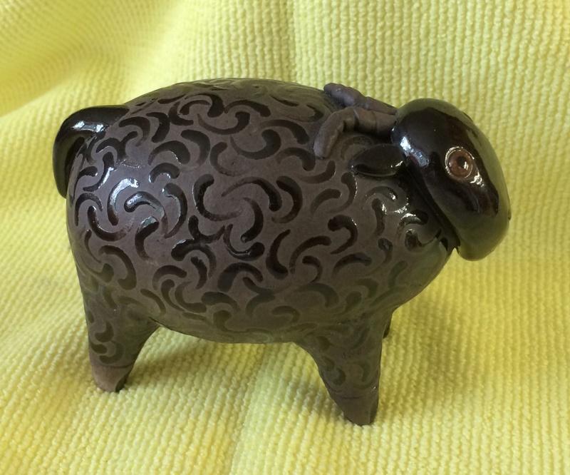 Pottery sheep, TW mark - Tony White Image283