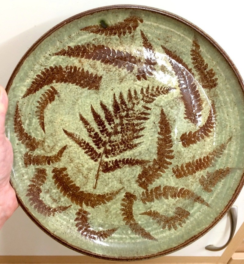 Plate with ferns MR and Leaf marks - Margaret Rollason  Image427