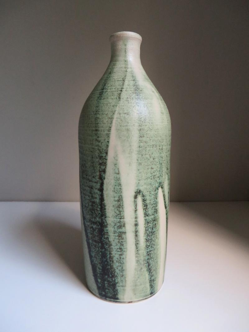 Bottle vase with translucent poured green glaze decoration, impressed mark Img_0016