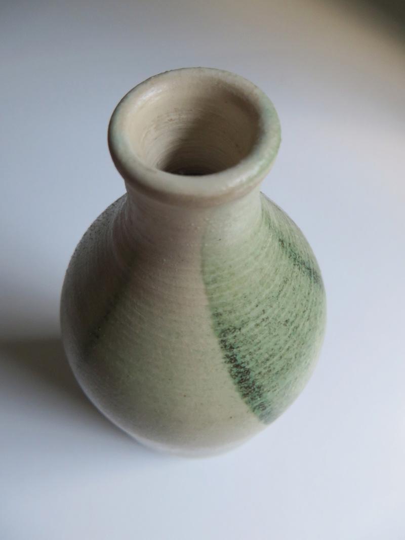 Bottle vase with translucent poured green glaze decoration, impressed mark Img_0017