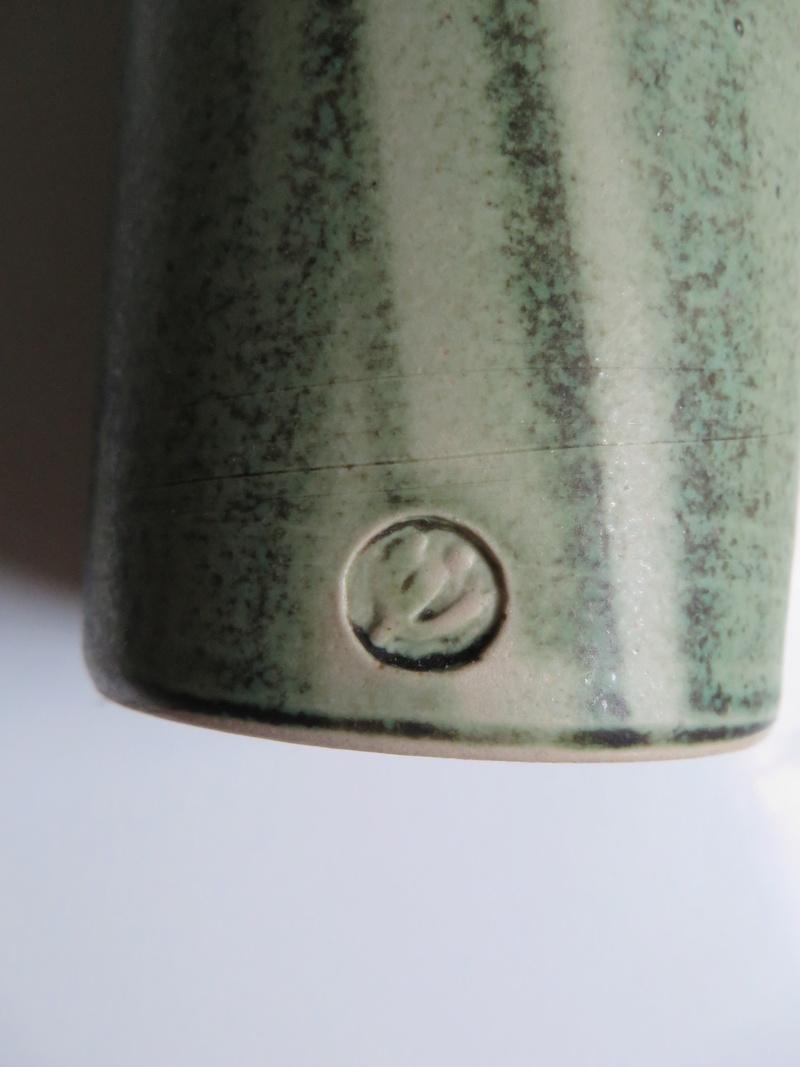 Bottle vase with translucent poured green glaze decoration, impressed mark Img_0019