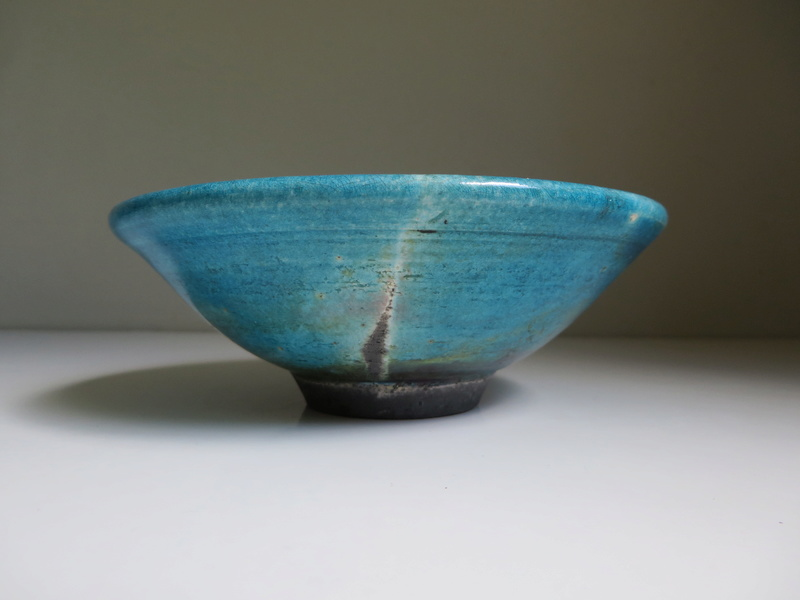 blue glazed raku bowl with sprigged seal mark - Michelle Young-Hares Img_0115