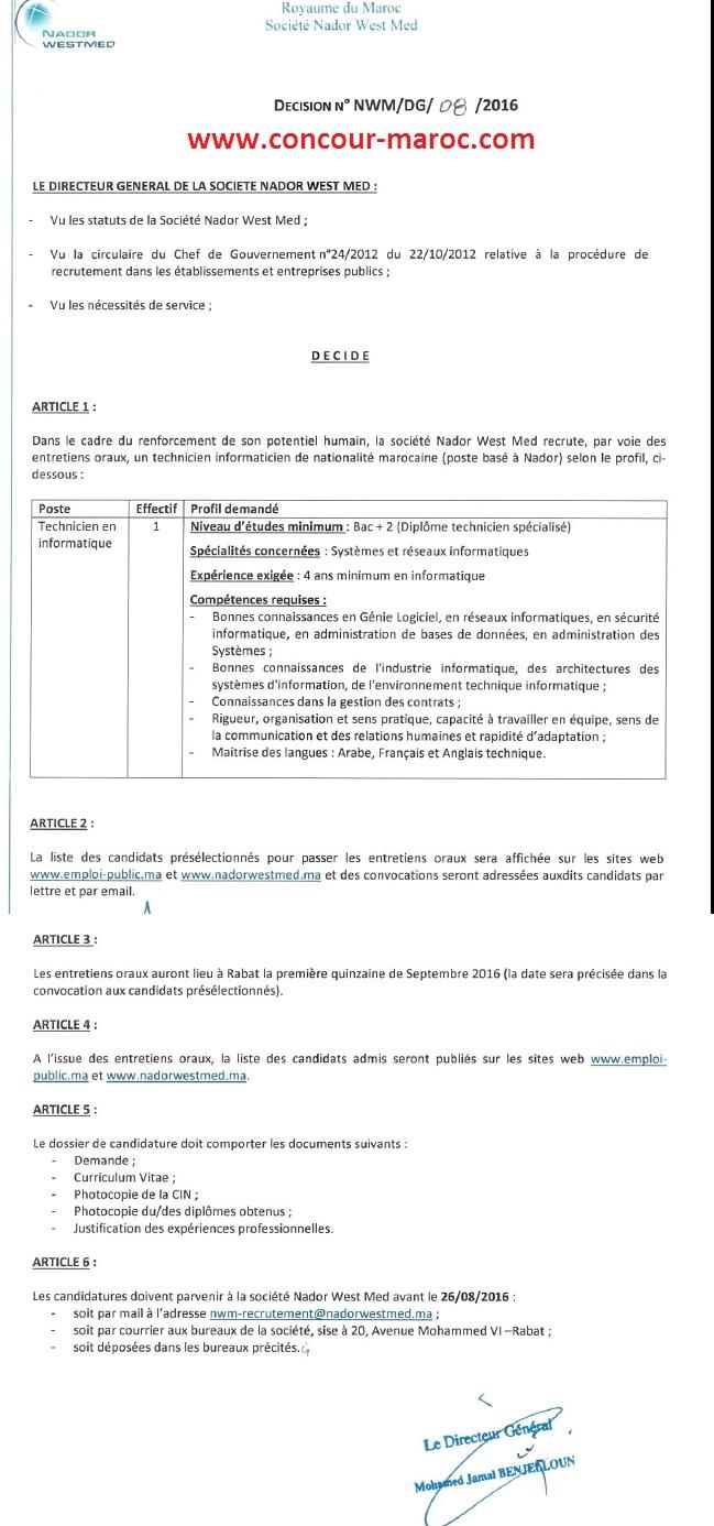 شركة الناظور غرب المتوسط : مباراة لتوظيف تقني المعلوميات (1 منصب) آخر أجل لإيداع الترشيحات 29 غشت 2016 666617