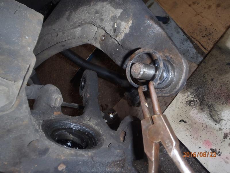 Train avant, démontage et révision, Frein, roulement, rotule, transmission.... P8230041