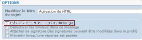 Activer le Html Html210